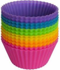 Paarse BukkitBow 12 Ronde Silicone Cakevormpjes - Bak Mallen Voor Cakevorm - Silicon Cupcakes - Keuken Koken Gereedschap - ijsvormpjes - Set/12 Stuks