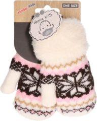 Bordeauxrode Merkloos / Sans marque Gebreide winter handschoenen Nordic/wit/roze/bruin voor peuters - kinder handschoenen