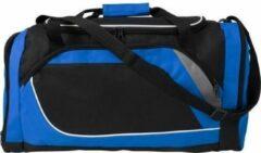 Merkloos / Sans marque Blauw met zwarte sporttas/reistas 45 liter - Sporttassen - Weekendtassen - Voetbaltassen