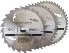 Silverline Tct Cirkelzaagblad, 24, 40, 48 Tanden, 3 Stuks (230 X 30 - 25, 20 En 16 mm Ringen)