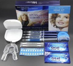 Blauwe At-shop Tandbleekset Professional - Tandenbleekset - Witte tanden - Zonder peroxide - Zelf thuis je tanden bleken