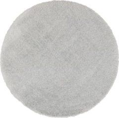 Licht-grijze Flooo Rond vloerkleed - Tapijten Woonkamer - Hoogpolig - Silver Grey - Grijs - 160 cm