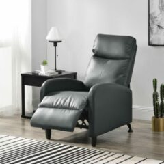 En.casa Verstelbare relaxfauteuil 102x60x92 cm kunstleer grijs