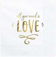 PartyDeco Servetten wit met All You Need Is Love in Goud