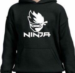 Zwarte Gildan Hoodie sweater | gamer | ninja | maat 128 (7-8 jaar)