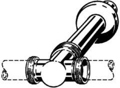 Viega t stuk met muurbuis en roset 1 1/4x32x250 chroom 120573