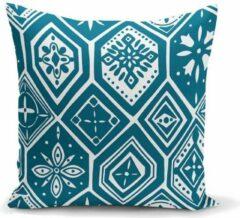 Zijou Decoratieve prachtige turquoise en geometrisch motief sierkussen- Binnen of Buiten kussen 45x45 cm