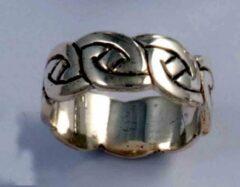 St Justin Ltd Keltiche ring,Lindisfarne Knot Zilveren ring maat 53
