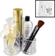 RONDE Make up Organizer met 3 Vakken – Make-up Organizer Transparant - Makeup Cosmetica Opbergsysteem - Display Houder voor Lippenstift / Nagellak / Brushes / Visagie - Make up kwasten etc. - Decopatent®