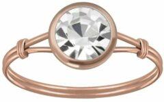 Zilveren WeLoveSilver Ringen dames | Rose gold plated ring met kleurloos kristal