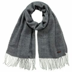 Donkergrijze Barts Soho fijngebreide sjaal met visgraatdessin 180 x 60 cm