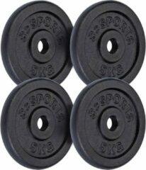 Zwarte ScSPORTS® 20 kg Halterschijven set - gietijzer - 30 mm - 4x5 kg - Gewichten