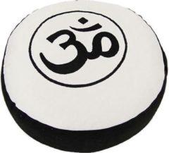Witte Yogi & Yogini Meditatiekussen - Ohm - Zwart/Crème