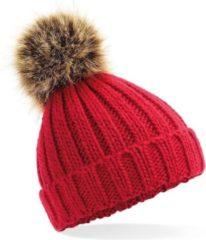Beechfield Grof gebreide wintermuts rood met bruine pompon voor dames