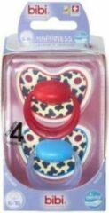 Rode Bibi Happiness Dental fopspeen Tiger Swiss 6-18 mnd rood/blauw (2 stuks)