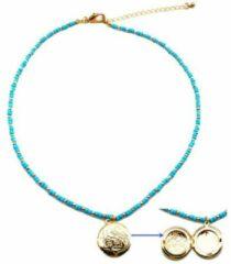 Bohemian kralen ketting met Medaillon - Blauw Goud - Dames - Lieve Jewels