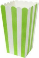 Stemen Popcorn bakjes groen 6 stuks -16 cm hoog - Popcornbakjes/chipsbakjes/snackbakjes kinderverjaardag/kinderfeestje.
