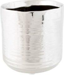 Cosy @ Home 1x Zilveren ronde plantenpotten/bloempotten Cerchio 13 cm keramiek - Plantenpot/bloempot metallic zilver - Woonaccessoires