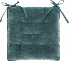 Blauwe Atmosphera DELUXE stoelkussen turquoise velvet 38 x 38 cm - 2 lintjes - Extra dik - Fluweel - Katoen