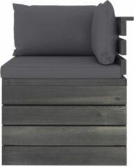 Antraciet-grijze VidaXL Tuinbank 4-zits met kussens pallet massief grenenhout