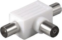 Goobay Adapter Koaxial-Verteiler 2x Stecker auf Kupplung Goobay Weiß