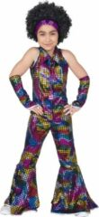 Funny Fashion Disco Jumpsuit Rainbow Glitter | Maat 128 | Meisjes | Verkleedkleding