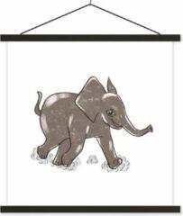 TextilePosters Een illustratie van een lopende babyolifant schoolplaat platte latten zwart 90x90 cm - Foto print op textielposter (wanddecoratie woonkamer/slaapkamer)