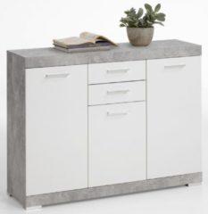FD Furniture Dressoir Bristol 3 van 120 cm breed in grijs beton met wit