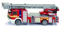 Rode Siku Mercedes Benz ladderwagen van Duitse brandweer rood (1841)