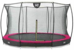 Roze Inground trampoline EXIT Silhouette - ø427cm - met net