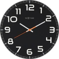 NeXtime NE-8817ZW Wandklok Dia. 30 X 3.5 Cm, Glas, Zwart, 'Classy...
