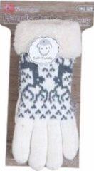Creme witte Merkloos / Sans marque Gebreide winter handschoenen rendier/creme met pluche voor dames