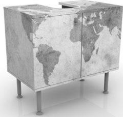 PPS. Imaging Waschbeckenunterschrank - Vintage Weltkarte II - Badschrank Weiß Grau
