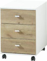 Alamania Ladeblok Lioni 58 cm hoog - Wit met Navarra eiken