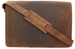 Leather Design The Rat Pack A4 Messenger Schoudertas met Overslag 15.6'' Buffalo Bruin