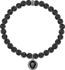 Kaliber 7KB-0001L - Heren armband met stalen elementen - leeuw - Lavasteen 6 mm - maat L (20 cm) - zwart / zilverkleurig