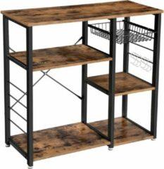 Donkerbruine VASAGLE metalen keukenplank, stabiele staande plank, plaatsbesparende magnetronplank met stalen frame en draadmand, met 6 haken, industriële vormgeving, houtlook, vintage bruin-zwart