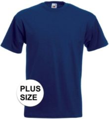 Fruit of the Loom Grote maten basic navy blauw t-shirt voor heren - voordelige katoenen shirts 3XL (46/58)