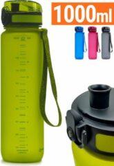 Drinkfles 1 liter | Herbruikbaar Vaatwasserbestendig | Groen Sport Bidon 1000ml Drinkbus | King Mungo KMDF009