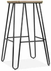 Legend Wire metalen barkruk - Met houten zitting - 65 cm hoog - Zwart