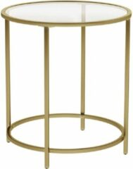 Vasagle Salontafel - ⌀ 50 cm - Ronde Glazen Tafel - Gouden Ijzeren Frame