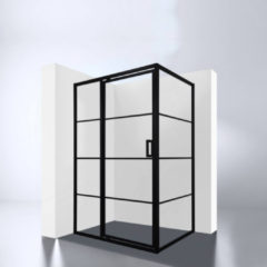 Douchecabine Best Design Zeplin-1400 met Nisdeur 140X90X210X8 cm Mat Zwart
