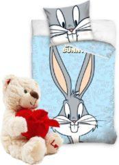 Blauwe Looney Tunes dekbedovertrek- Ledikant 100x135 - Bugs Bunny-incl. pluche Love Beertje 20cm creme wit