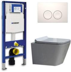 Douche Concurrent Geberit UP 100 Toiletset - Inbouw WC Hangtoilet Wandcloset - Flatline Alexandria Delta 21 Wit