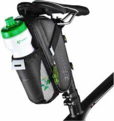 Zwarte Decopatent® PRO Zadeltas Racefiets - Met Bidonhouder - Mountainbike - Mtb - Koersfiets - Fietstassen - Waterdicht - Wielrennen tas