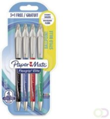 Balpen Paper Mate Flexgrip Elite assorti 4st blister