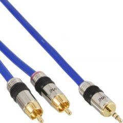 Blauwe InLine 3,5mm Jack - Tulp stereo audio kabel - 0,50 meter