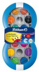 Pelikan plakkaatverf, blauwe doos met 12 napjes in geassorteerde kleuren