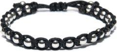 Zilveren Kaliber 7KB-0081 - Heren armband - nylon met 6 mm stalen balletjes - one-size - zwart / zilverkleurig