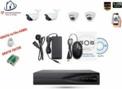 Witte Home-Locking camerasysteem met bewegingsdetectie en NVR 2.0MP H265 POE met 2 binnen en 2 buitencamera's 2.0MP CS-4-1411D